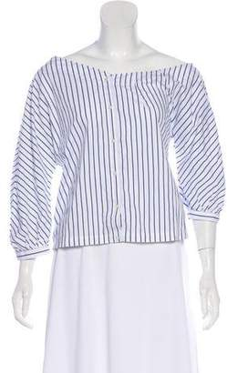 Frame Striped Button-Up Crop Top w/ Tags