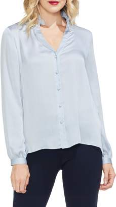 Vince Camuto Ruffle Neck Button Front Top
