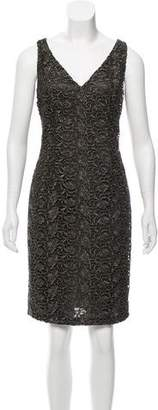 Carmen Marc Valvo Metallic Sleeveless Dress