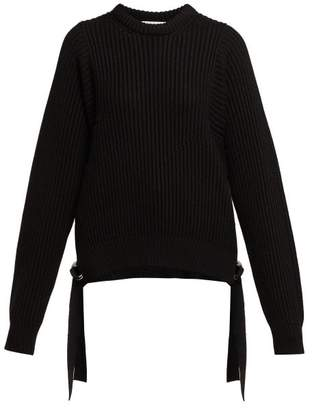 Helmut Lang Strap Detail Knitted Cotton Sweater - Womens - Black