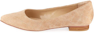 Neiman Marcus Dorothy Quilted Suede Flat