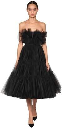 Brognano Off The Shoulder Tulle Midi Dress
