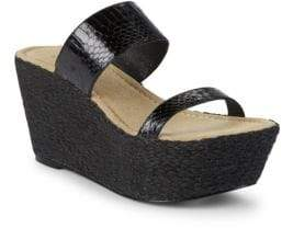 Elizabeth and James Boca Snake Strap Wedge Sandals