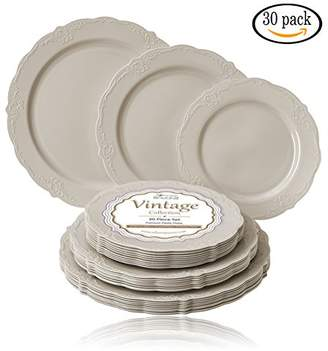 Party Disposable 30 PC DINNERWARE Set   10 Dinner Plates   10 Salad Plates   10 Dessert Plates   Heavyweight Plastic Dishes   Fine China Look   Upscale Wedding Dining (Vintage Collection - Cream)