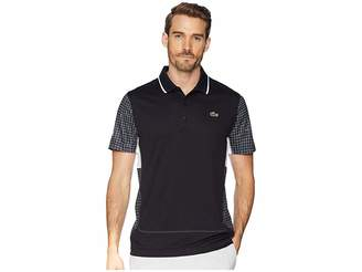 Lacoste Sport Short Sleeve Ultra Dry Net Print Color Block Polo w/ Flatlock Detail