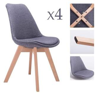 CO-Z Dining Side Chair Cushion Seat Wood Modern Style Furniture Full Fabric, set of 4