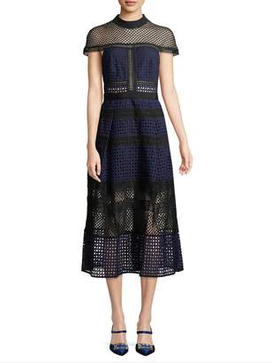 Self-Portrait Women's Lace Illusion Midi Dress