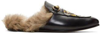 Gucci Black Fur Tiger Princetown Slippers