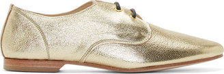 Yohji Yamamoto Gold Grained Leather Derbys $1,180 thestylecure.com