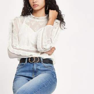 River Island Cream frill sleeve embroidered top