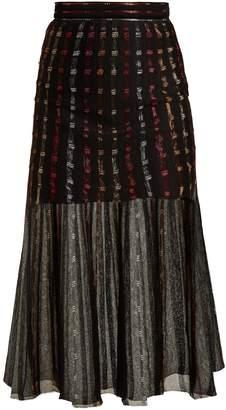 Alexander McQueen Metallic-knit pleated midi skirt