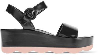 Prada - Glossed-leather Platform Sandals - Black