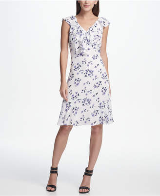 DKNY Ruffle Neck and Hem Floral Dress