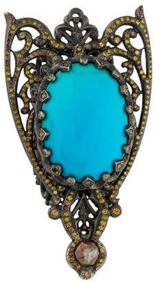 Loree Rodkin 18K Chrysocolla in Chalcedony & Diamond Cocktail Moth Ring