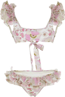 Zimmermann Ruffled Floral-Print Silk Bikini