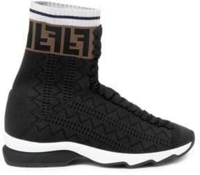 Fendi Rockoko High Top Knit Sneakers