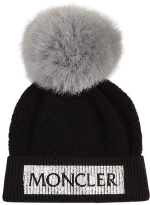 Moncler Logo Wool Knit Beanie W/Fox Fur Pompom