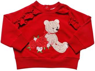 MonnaLisa Bear Embroidered Cotton Sweatshirt