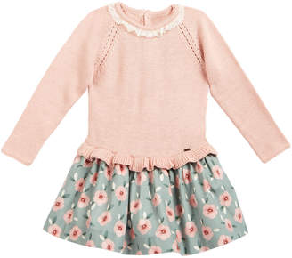 Mayoral Long-Sleeve Lace Combo Dress, Natural, Size 3-24 Months