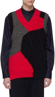 Kolor Colourblock mix knit wool vest