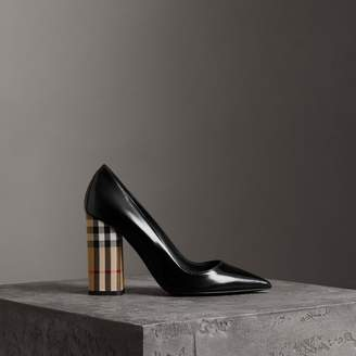 Burberry Patent Leather and Vintage Check Block-heel Pumps , Size: 36