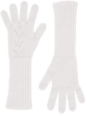 Brora Cashmere Long Pointelle Gloves, Platinum