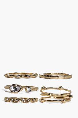 boohoo Grace Mixed Detail Ring Pack