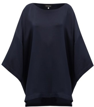 eskandar Boat Neck Oversized Silk Crepe T Shirt - Womens - Navy