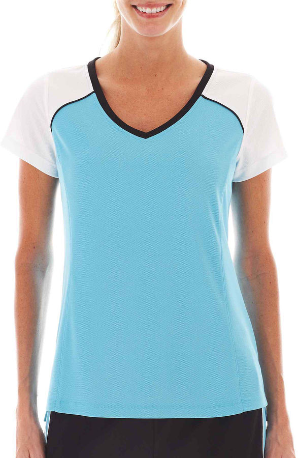 JCPenney Made For Life Short-Sleeve Colorblock Mesh Tee