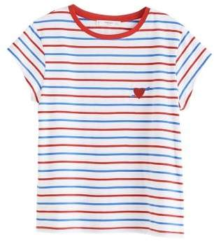MANGO Embroidery striped t-shirt
