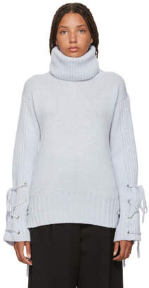McQ Blue Lace-Up Turtleneck