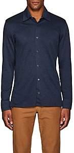 Luciano Barbera Men's Geometric-Jacquard-Knit Cotton Shirt - Blue