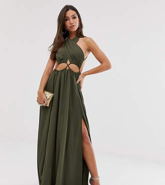 Asos Design DESIGN maxi dress with cross neck and cut out waist detail