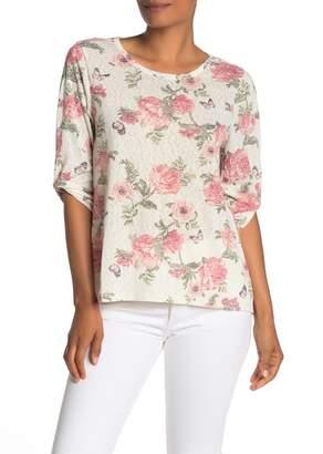 Bobeau Floral Print Mixed Media Elbow Sleeve Top