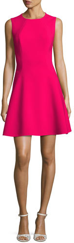 Kate Spade New York Sleeveless Stretch Crepe Fit-And-Flare Dress, Pink