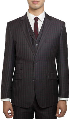 English Laundry Men's Slim-Fit Striped Three-Piece Suit, Brown