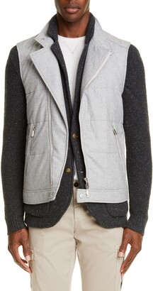 Eleventy Asymmetrical Quilted Wool Blend Vest