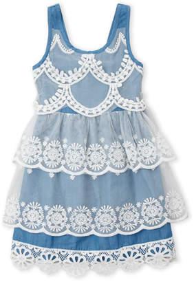 Baby Sara Girls 4-6x) Tiered Chambray Dress