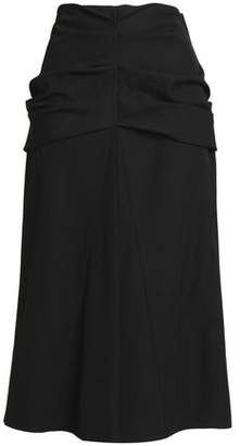 Lemaire Gathered Wool And Cotton-Blend Twill Midi Skirt