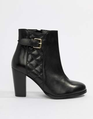 Faith Brooksie leather quilted heeled ankle boots in black