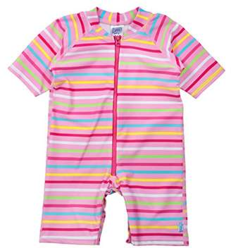 I Play One Piece Zip Sunsuit for Girls (6-12 Months, Infant, Pink Multi Stripe)