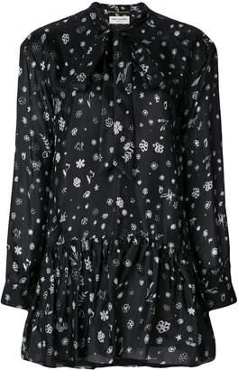 Saint Laurent printed tie neck mini dress