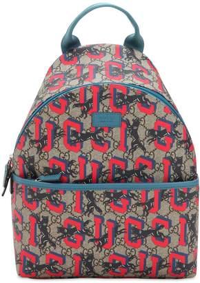 Gucci Gg Supreme & Wolfs Backpack