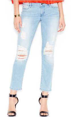 GUESS Ripped Mid-Rise Pencil Skinny Jeans $98 thestylecure.com