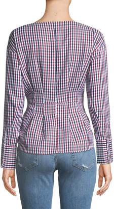Marled By Reunited Button-Down Gingham Peplum Blouse