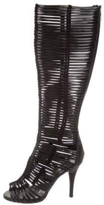 Sigerson Morrison Leather Cut-Out Knee Boots