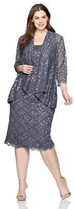 Alex Evenings Women's Plus Size Lace Jacket Dress
