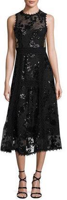 Nanette Lepore Sleeveless Embellished Floral Tulle Midi Dress, Black $628 thestylecure.com