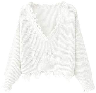 4c3dd1f498fcf Hotmiss Women s V-Neck Ripped Long Sleeve Knitted Loose Pullover Sweater  Crop Top
