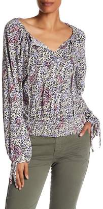 Lucky Brand Banded Bottom Floral Blouse
